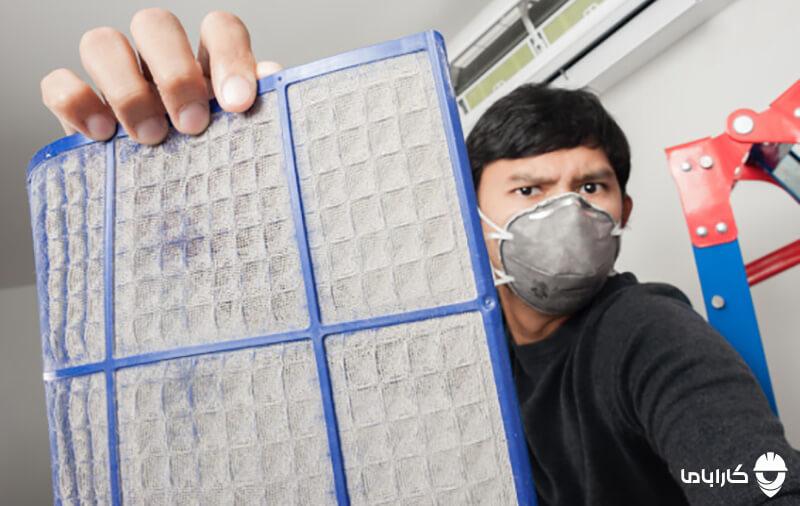 مسدود شدن فیلتر های کولر گازی از دلایل کاهش پرتاب باد کولر گازی