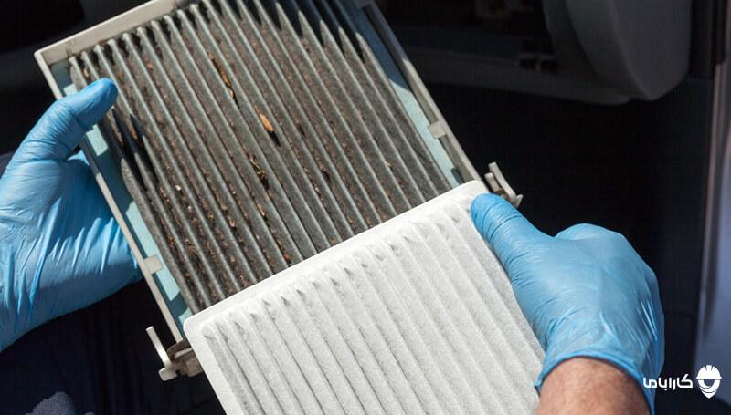 مسدود شدن فیلتر هوای کابین کولر ماشین از علت های کاهش پرتاب باد کولر ماشین