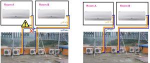 آموزش نصب کولر گازی اینورتر ال جی - اتصالات سیم کشی و اتصالات لوله کشی
