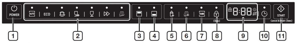 نمونه سوم پنل کنترلی ماشین ظرفشویی سامسونگ