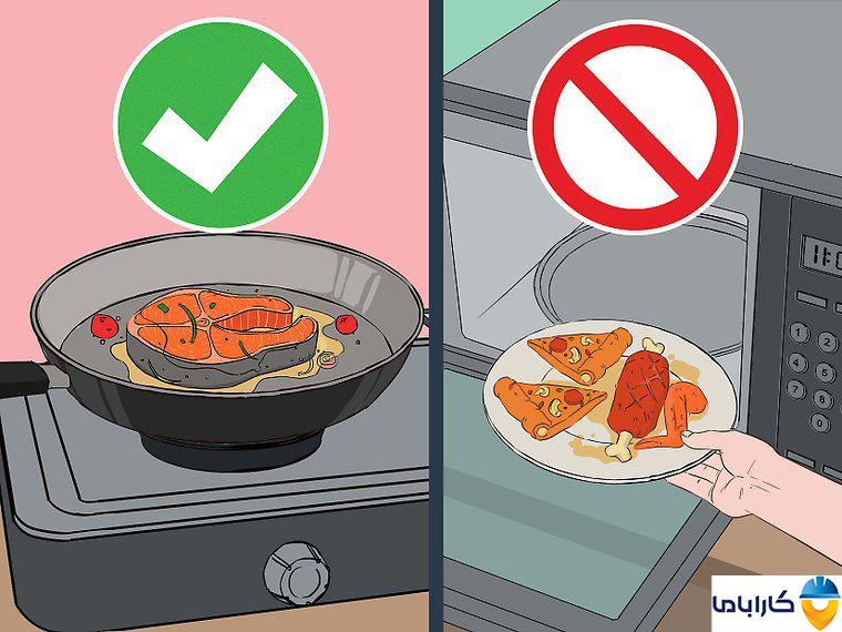 آموزش طرز کار با ماکروفر و ماکروویو- گرم کردن گوشت و پیتزا در ماکروفر