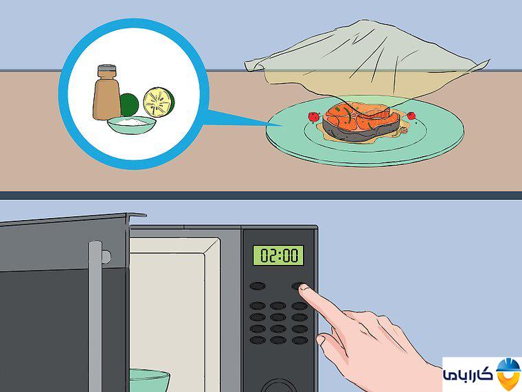 آموزش طرز کار با ماکروفر و ماکروویو- طبخ ماهی در ماکروفر
