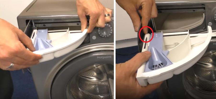نحوه خارج کردن جاپودری ماشین لباسشویی